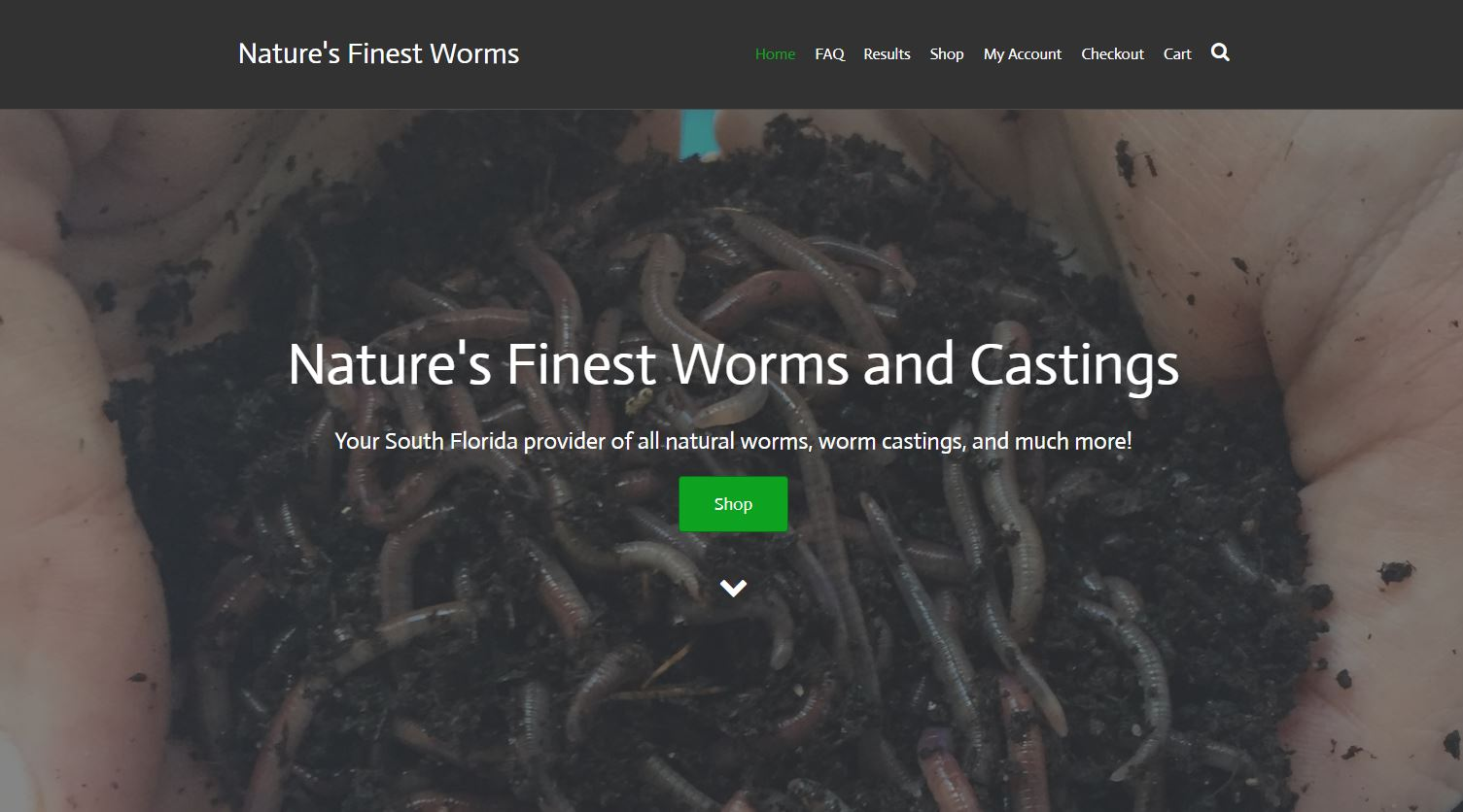 Screenshot of Natures Finest Worms website